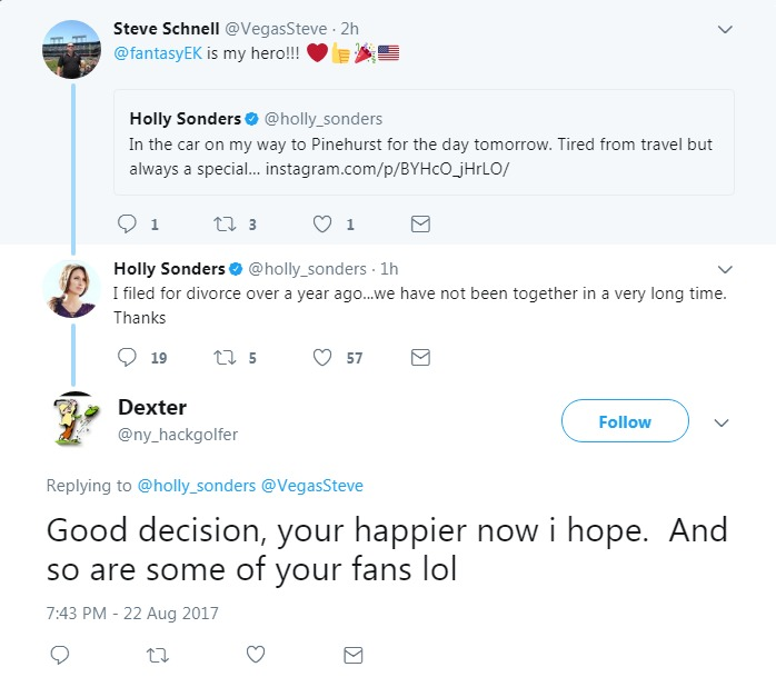Twitter post by Holly Sonders admitting she has filed for divorce from husband Erik Kuselias