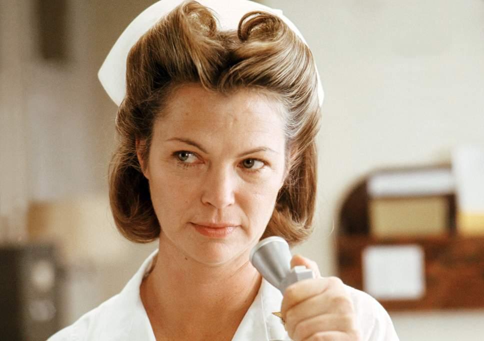 Louise Fletcher in the nurse dress