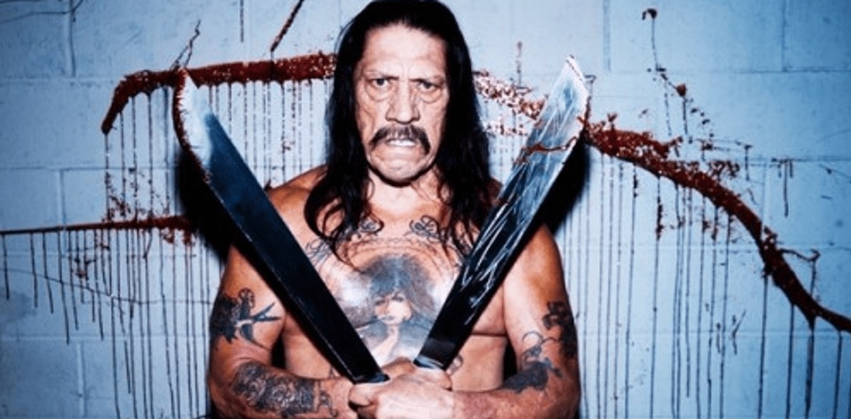 Danny Trejo has two swords in his hands