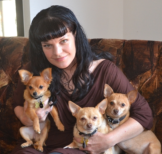 Pauley Perrette with her dogs.
