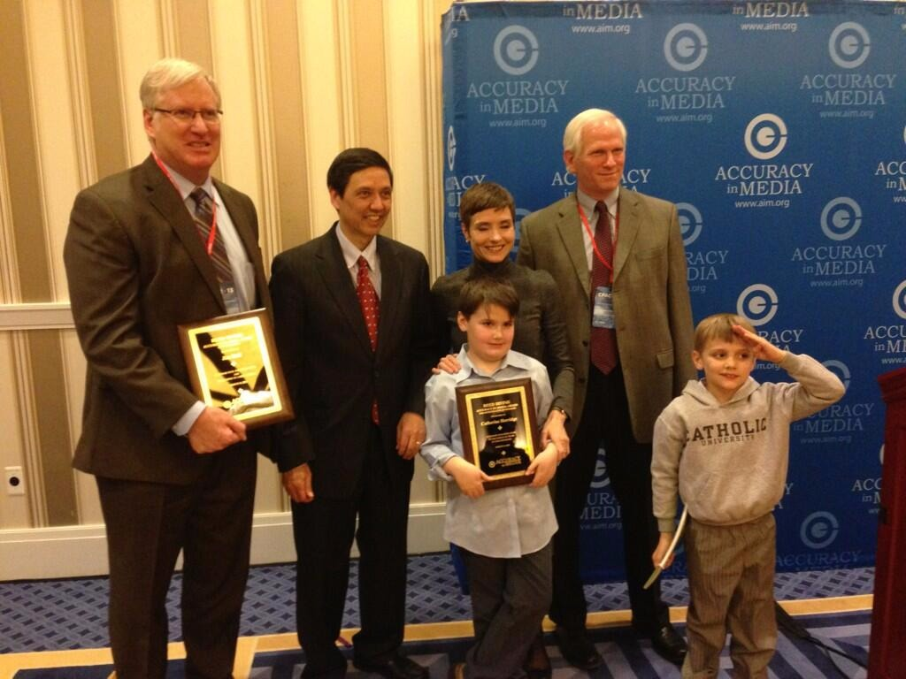 Catherine Herridge at AIM Reed Irvine Awards along with Jim Hoft and her sons.