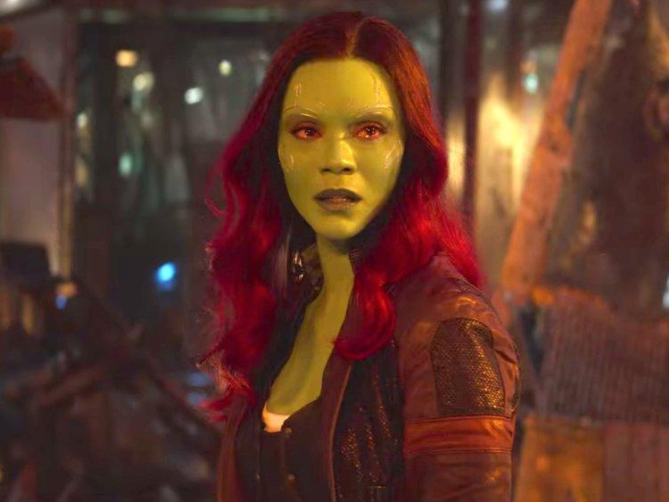 Zoe Saldana as Gamora has blood shot eyes