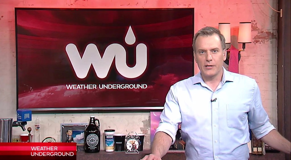 Mike Bettes is on the set of Weather Underground.