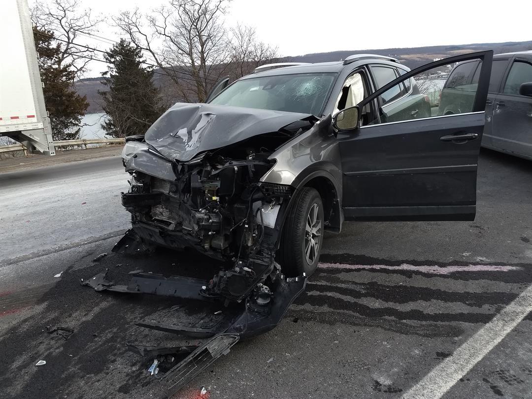 Robert Conrad's  crashed black car