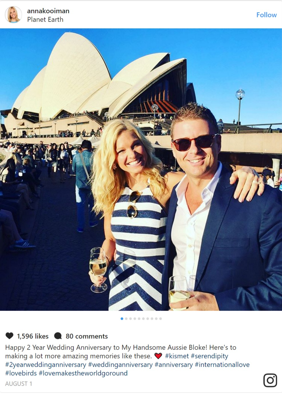 Anna Kooiman and her husband Tim Stuckey pose for the camera in front of the Sydney Opera House