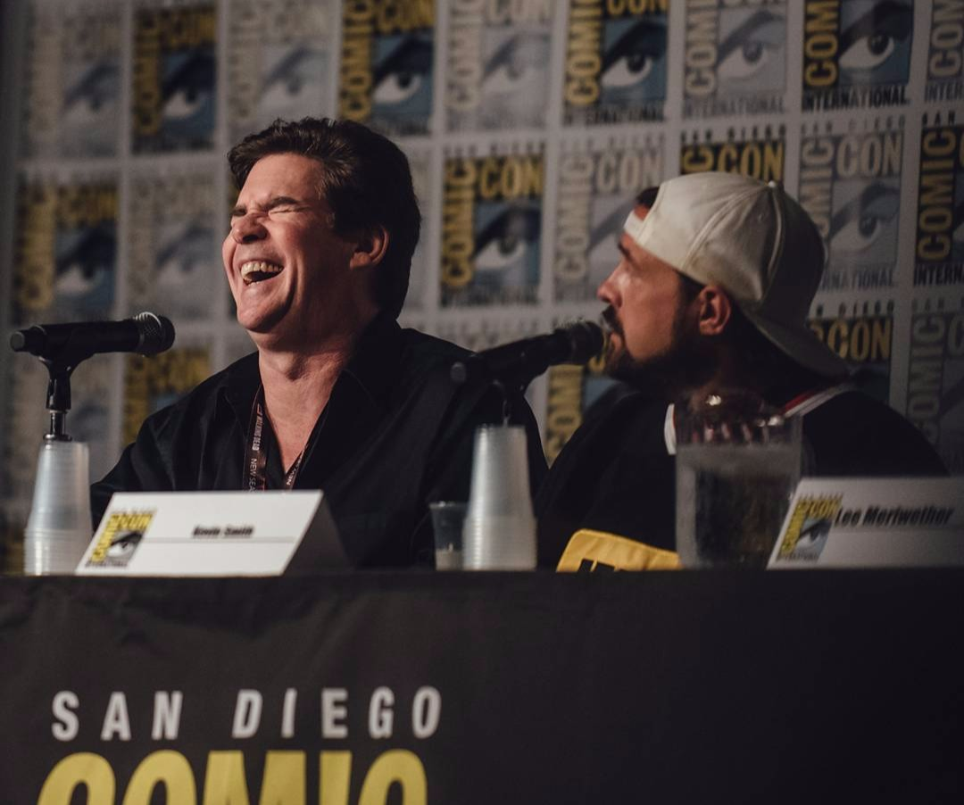 Ralph Garman with Kevin & Bean host Kevin Smith at San Diego Comic Con panel
