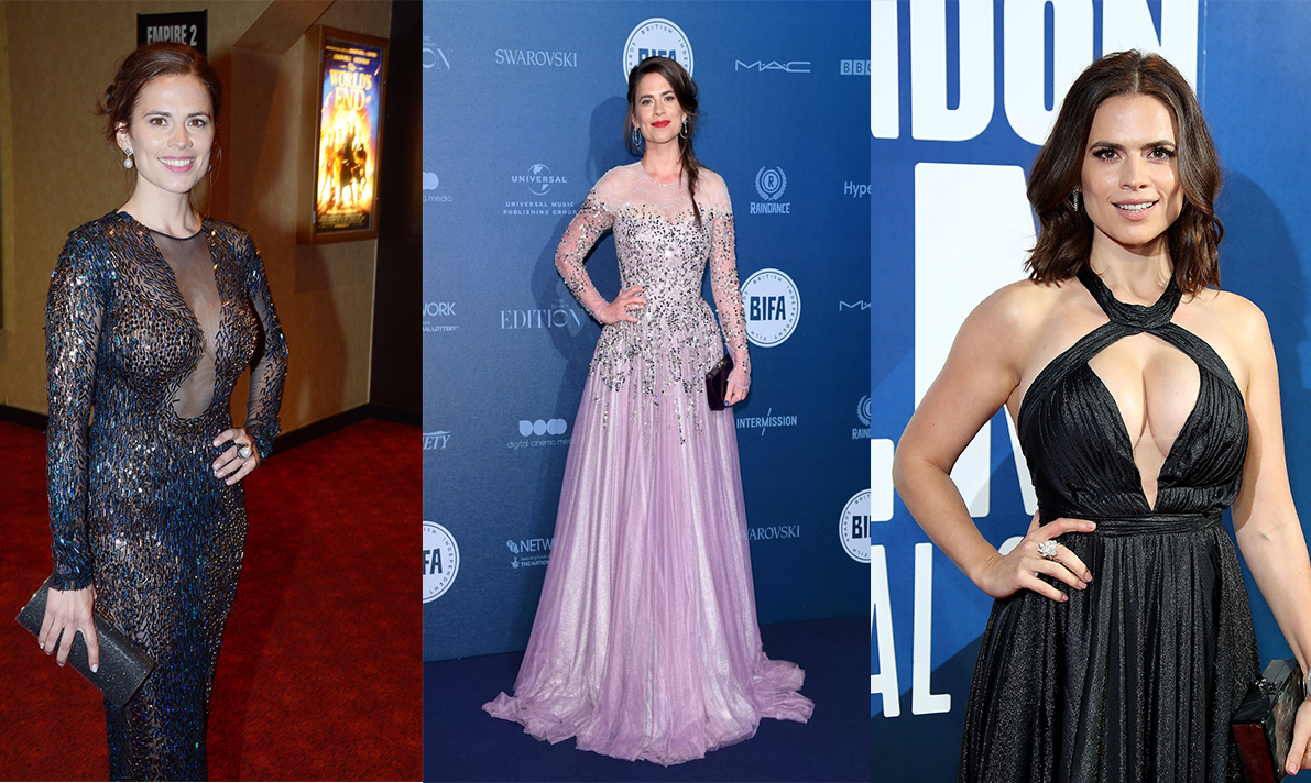 Hayley Atwell's red carpet dresses