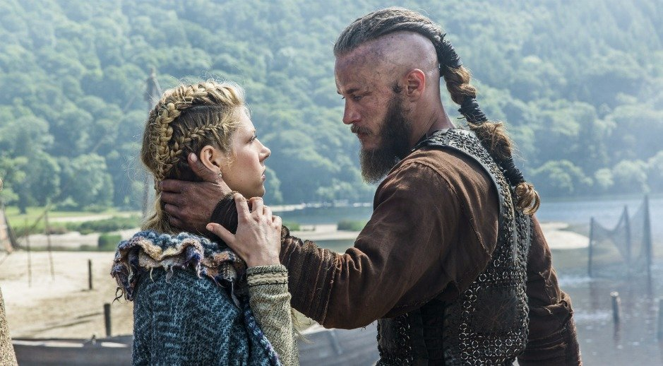 Travis Fimmel and Katheryn Winnick as Ragner and Lagertha in History Channel's 'Vikings'.