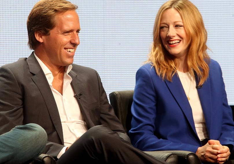 Judy Greer and husband Dean E Johnson during an interview