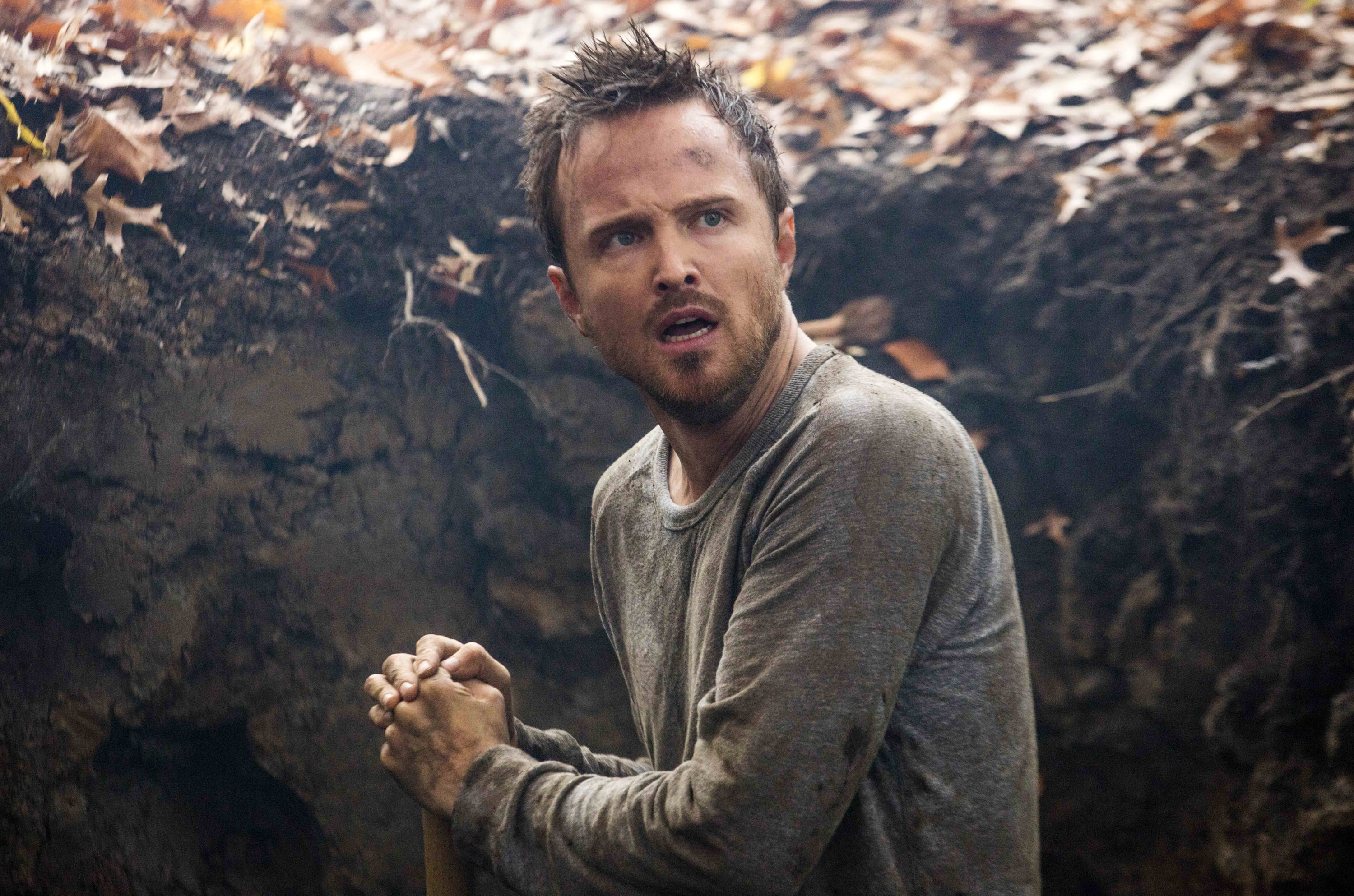 Aaron Paul looking scared