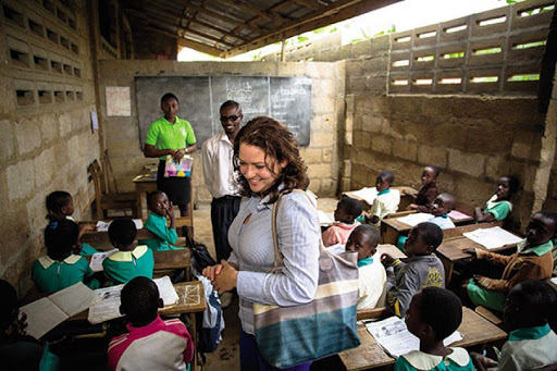 Liesel Matthews in a school. Liesel Pritzker Simmons is the founder of Young Ambassadors for Opportunity (YAO)