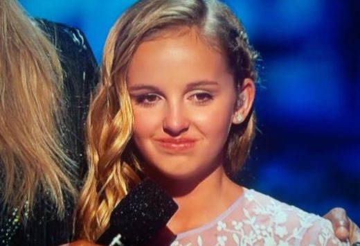 Evie Clair getting emotional after the AGT finals performance
