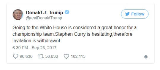 President Donald Trump tweeting about Stephen Curry