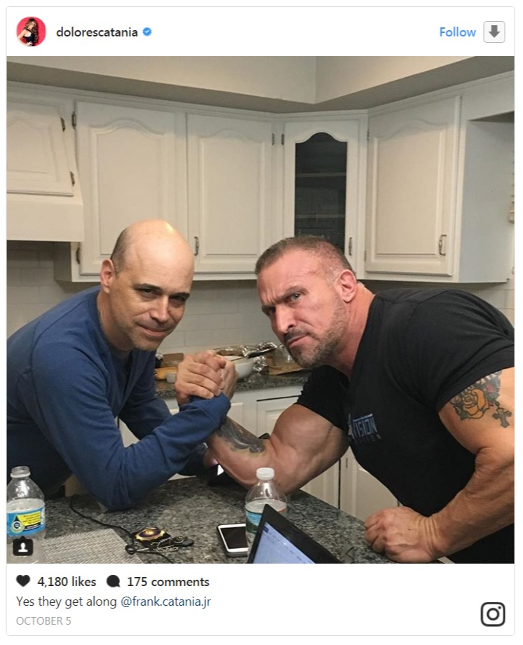Dolores Catania's boyfriend David Principe and ex-husband Frank Catania are looking at the camera as they pretend to arm wrestle.