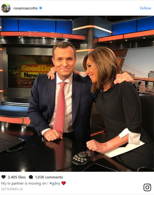 Greg Kelly on set of Good Day New York with co-host Rosanna Scotto