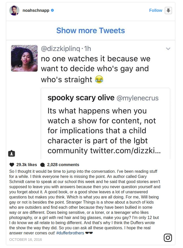 Noah Schnapp posting a post on October 16, 2016 about the gay rumor about his on-screen character Will Byers in Stranger Things.