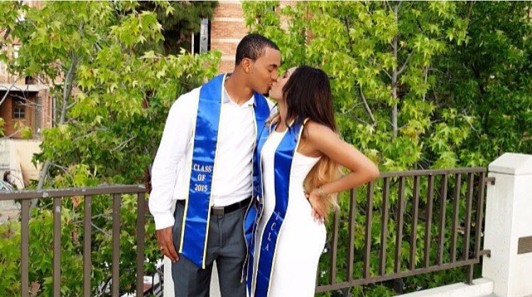 Dawnielle Baucham with her college sweetheart Brett Hundley at their graduation day. They pose in a lip lock position with Brett's one hand placed on Dawnielles' waist.