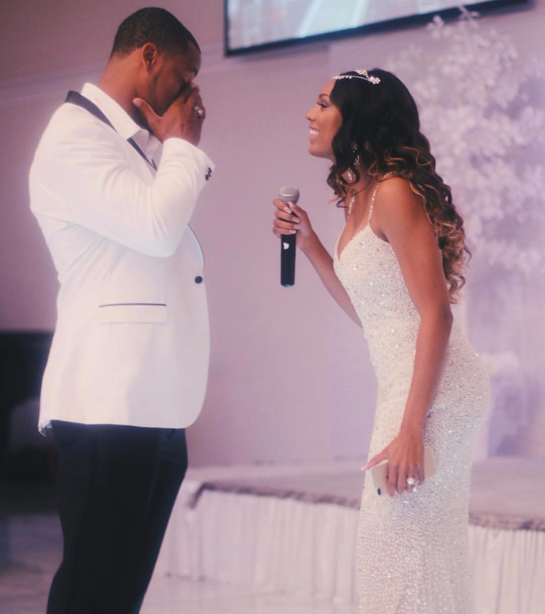 Dawnielle Baucham singing John Lennons' Wanna Grow Old With You for her husband Brett Hundley on the occasion of their first wedding anniversary. Brett gets emotional as he hears Dawnielle sing.