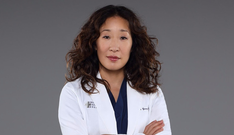Sandra Oh is dressed as Cristina Yang for Grey's Anatomy.