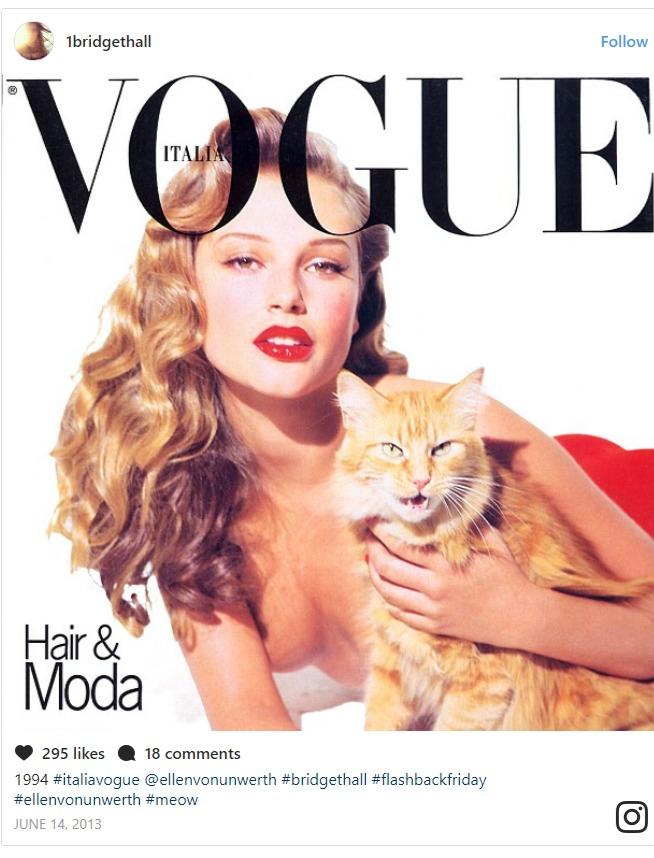 Bridget Hall on the cover of Vogue magazine, she' holding a ginger cat