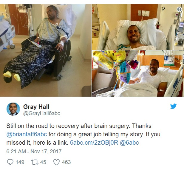 Gray Hall twitter post featuring photos of him on hospital bed
