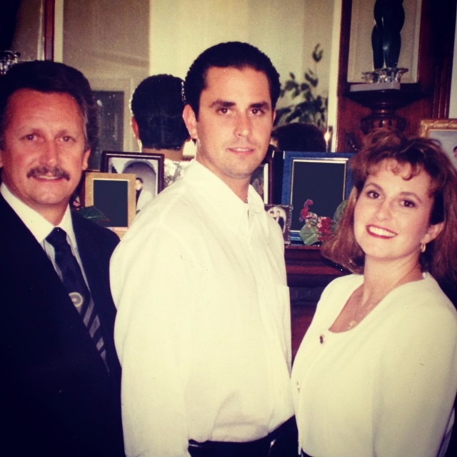 A young Daphne Rawlings with young Richard Rawlings and their father