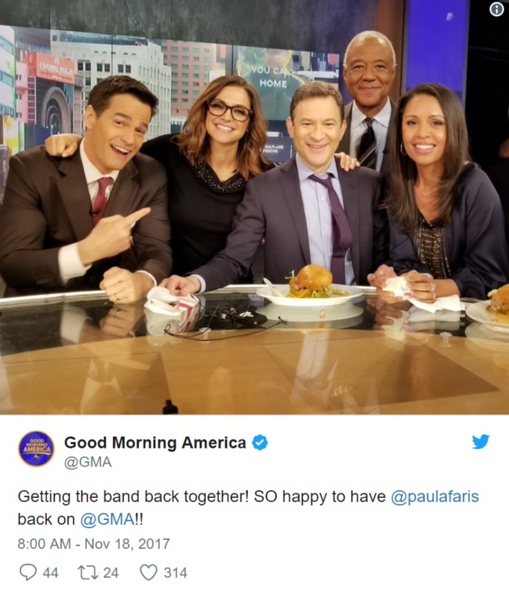 Paula Faris with her co-hosts on Good Morning America