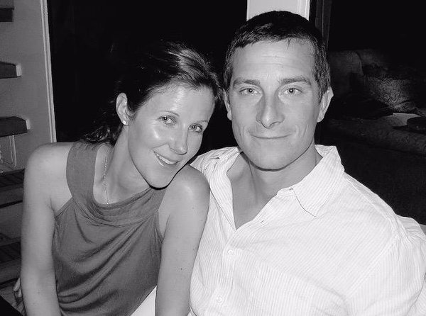 A black and white photo of Shara Grylls with husband Bear