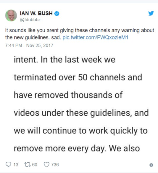 iDubbbz twitter post calling out Youtube for channel termination