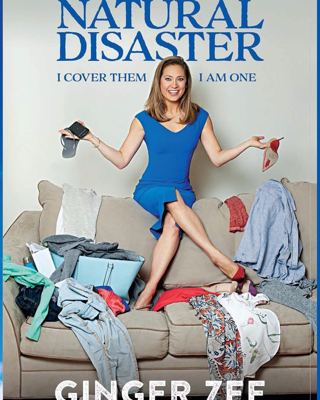This is the cover of Ginger Zee's book where she opens up about the sturggles of mental illness. Ginger Zee is wearing a blue dress.