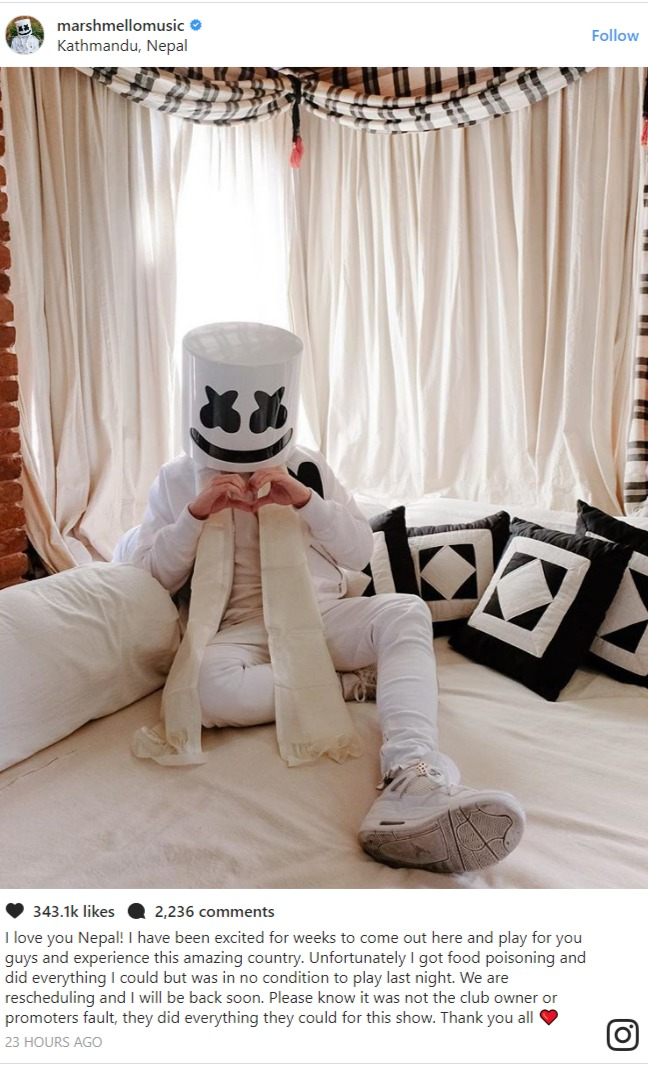 Marshmello apologized after cancelling Deja Vu Nepal show