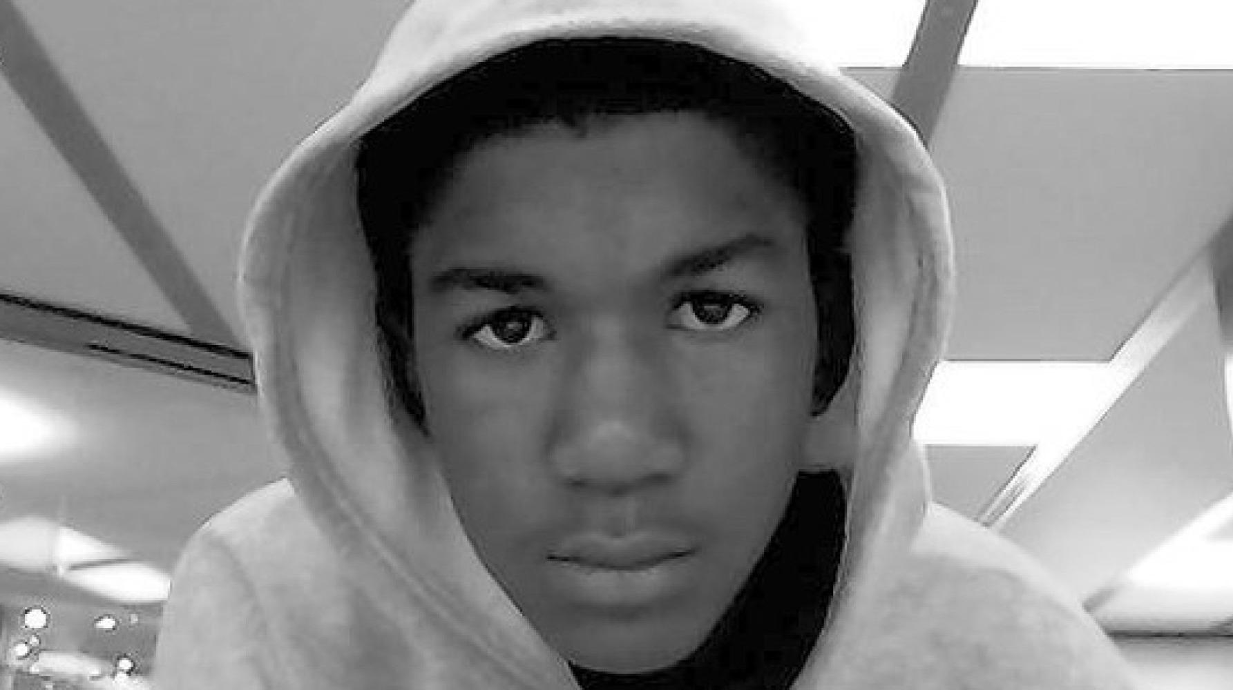 Trayvon Martin wearing a hoodie