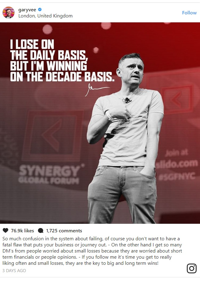 Gary Vaynerchuk motivational quotes Instagram photo