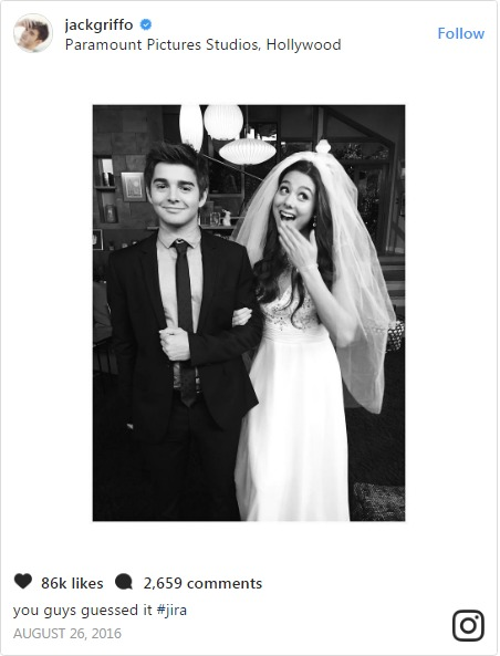 Jack Griffo took to Instagram to share a picture of them in wedding dress alongside a caption 'Jira'.
