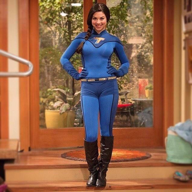 Kira Kosarin posing in Phoebe Thunderman costume, she wears in the Nickelodeon series 'The Thundermans'.