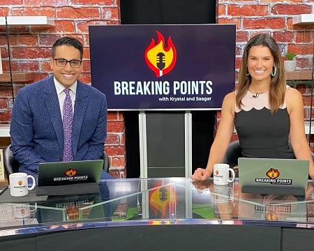 Krystal Ball with cohost on the set of Rising with Krystal & Saagar