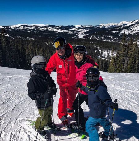 Sherly Crow with her kids at a ski-resort