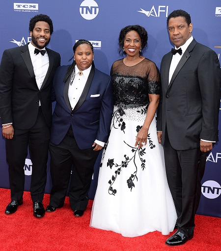Denzel Washington, his wife Pauletta, and their Kids, Katia, and Malcolm