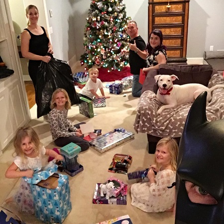 Jen Wilson With her family celebrating Christmas