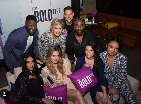 Nikohl Boosheri attending the premier show of The Bold Type with other cast members