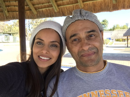 The South African actress with her father