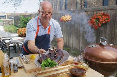 Andrew Zimmern prepared barbecue chicken in his restaurant