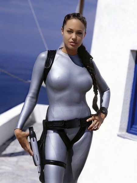 Angelina Jolie in her Tomb Raider outfit