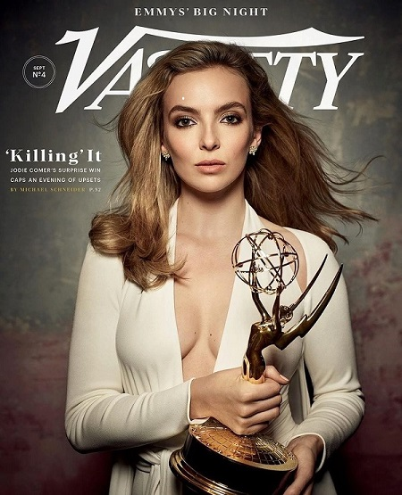 Jodie Comer receiving the award for her performance on Killing Eve