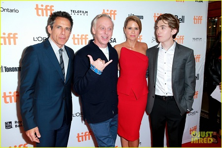 Ben Stiller, Jenna Fischer, Mike White, and Austin Abrams at an event for Brad's Status