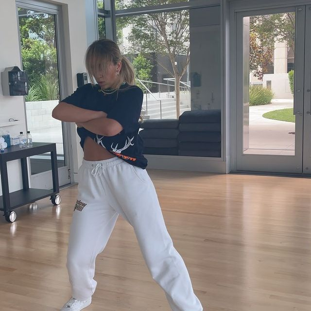 Tate was practicing dancing moves.