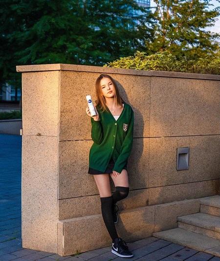 Daneliya Tuleshova advertising the Nivea brand perfume