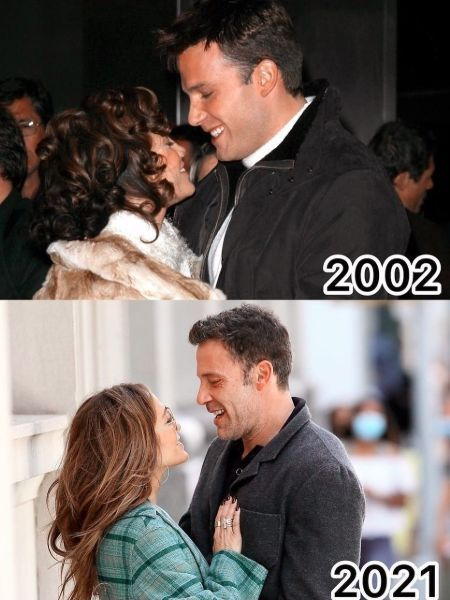 Jennifer Lopez with Ben Affleck in 2002 and now