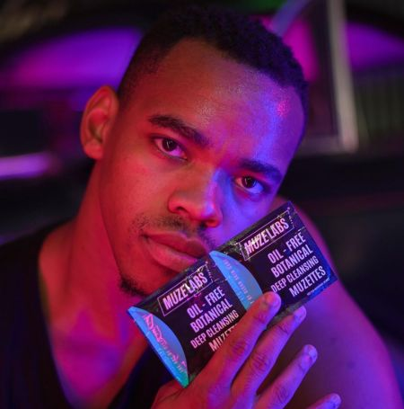 Joivan Wade was promoting Muze Lab Skin care.