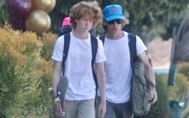 Phinnaeus Moder and his dad out on a walk